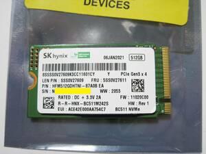 SK hynix BC511 512GB M.2 2242 PCIe Gen3X4 NVMe SSD 片面実装