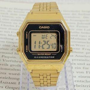 ★CASIO ILLUMINATOR デジタル 多機能 レディース 腕時計 ★カシオ イルミネーター LA680W アラーム クロノ ゴールド 稼動品 F5887