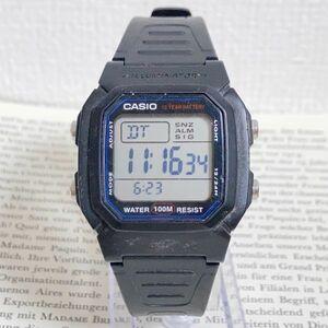 ★CASIO ILLUMINATOR デジタル 多機能 腕時計 ★カシオ イルミネーター W-800H アラーム クロノ ブラック 稼動品 F5926