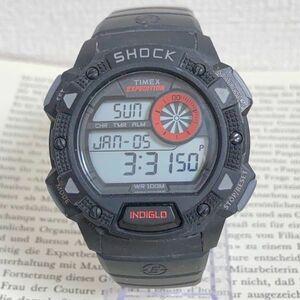 ★TIMEX EXPEDITION SHOCK デジタル 多機能 腕時計 ★ タイメックス エクスペディション アラーム クロノ タイマー ブラック 稼動品 F6021