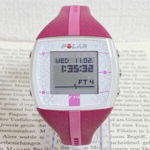 美品 ★POLAR デジタル 腕時計★ ポラール ピンク 稼動品 F6024