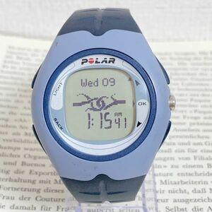 ★POLAR デジタル メンズ 腕時計★ ポラール ブルー系 稼動品 F6025