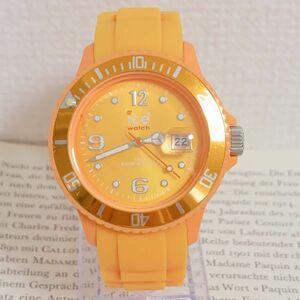 ★ ice watch 腕時計 ★ 3針 デイト 逆回転防止ベゼル パープル 稼動品 F6035