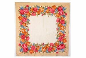 イヴ サンローラン86cm ヴィンテージ 大判 スカーフ シルク100% 花柄 バラ ドットジャガード バンダナ ベージュ Yves Saint Laurent 6359k