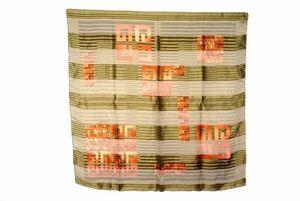 ジバンシィ 86cm 大判 スカーフ シルク100% 4Gロゴモチーフ ストライプ バンダナ ジバンシー カーキ 緑 グリーン 美品 GIVENCHY 6360k