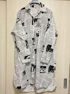 【新品未使用】英字 新聞風 ロング長袖シャツ フリーサイズ