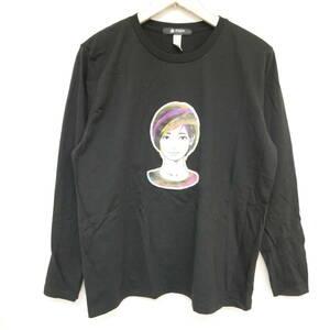 【1円】良好 国内正規 tr.4 suspension×KYNE×nano universe キネ KYNE GIRL L/S TEE 長袖Tシャツ マーブル BLACK ブラック 黒 M