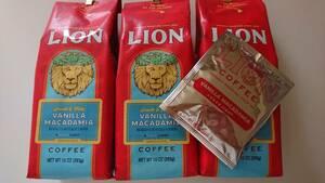 ライオンコーヒー☆粉 バニラマカダミア 10oz(283g)×3袋+ドリップバッグ バニラマカダミア 8g×1袋
