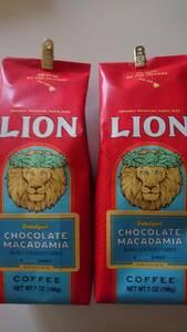 ライオンコーヒー☆粉 チョコレートマカダミア 7oz(198g)×2袋