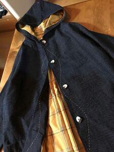着物リメイク fu.★ 久留米絣 亀甲 躾大島紬総裏ロングコート 美品 おまけのマフラー ハンドメイド