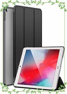 1円から即決!カバー.ダークブラック KENKE iPad 9.7 2017/2018 ケース 軽量 薄型 耐衝撃 放熱 三つ折