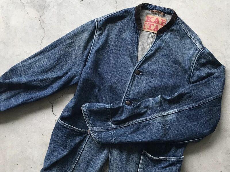 KAPITAL ノーカラー仕様 インディゴ染め デニムジャケット 2/M キャピタル メンズ ブルゾン カバーオール 藍染め