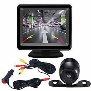 AIEK バックカメラ モニターセット 3.5インチLCDモニター バックカメラセット ケーブル一本配線 シガーソケット給電 取