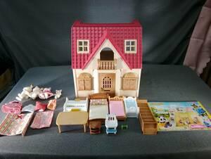 MTH4854◆エポック社 はじめてのシルバニア ファミリー 他 おまとめ 人形4体 家具 小物 椅子 机 はしご他 おもちゃ パーツ セット◆