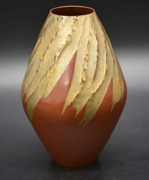 KY10-85 鎚起銅器 玉川堂 雪嶺鎚肌模様 銅製花瓶 花器 茶道具 845g