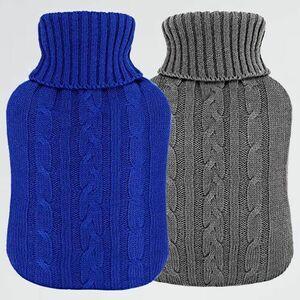 新品 目玉 湯たんぽ VINTONEY 2-MX 秋冬寒さ対策 暖房器具(グレ-、濃い青) 2個セット 容量2.0L ニットカパ-付き エコ湯たんぽ