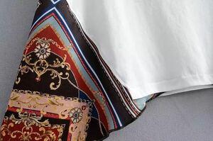 スカーフステッチデザインセンスレトロニッチ半袖白Tシャツ2020年夏 新品未使用 S/M/L
