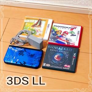 【美品】ニンテンドー3DS LL ソフト付(マリオカート7・バイオハザード) ゼルネアス New3DSLL