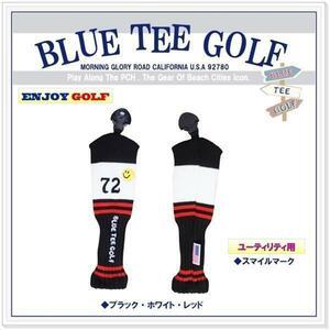 ③【2本セット】ブルーティーゴルフ BlueTee Golf California72 ニット カバー ユーティリティ用 【レッド】スマイルマーク付き