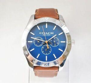 COACH コーチ NEW YORK クオーツ時計 アナログ腕時計 メンズ レザーベルト CA.133.2.95.1749 茶 シルバーカラー 211026YT