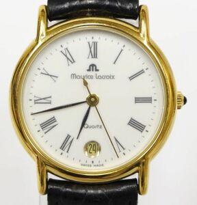 MAURICE LACROIX モーリス・ラクロア 82126 クォーツ式 腕時計 3針 デイト ウォッチ 白文字盤 ヴィンテージ 電池交換済 稼働品 211019F(NT)