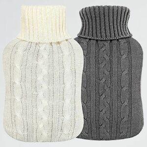 新品 未使用 Vintoney J-VG 寒さ対策 暖房器具(グレ-、ホワイト) お湯 注水式 やわらか湯たんぽ 容量2l 2個セット カバ-付き