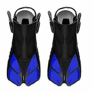 限定価格!ブルー L-XL フィン 足ひれ 水泳 MIABOO シュノーケル ダイビング 初心者向け 推進力抜群 着脱簡単FUZE