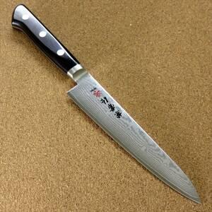 関の刃物 ペティナイフ 15cm (150mm) 関兼常作 V金10号 33層ニッケルダマスカス 口金付 果物包丁 野菜 果物の皮むき 小型両刃ナイフ 日本製
