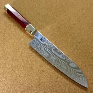 関の刃物 三徳包丁 18cm (180mm) 三昧 荒波 VG-10 VG-2 コアレス鋼ステンレス 赤合板 最高級 肉切り 魚処理 両刃万能包丁 文化包丁 日本製