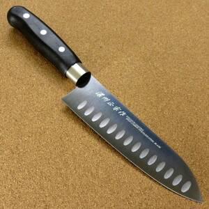 関の刃物 三徳包丁 17cm (170mm) ディンプル チタンコーティング 家庭用 肉 魚の処理 野菜切り 両刃万能包丁 文化包丁 右利き用 日本製