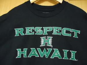 ハワイ CHAMPS ハワイ大学  RESPECT Tシャツ 黒色 L