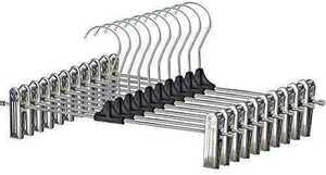 新品未開封 ズボンハンガー スカートハンガー 多機能スカートハンガー ステンレス鋼 クリップハンガー 10本セット すべらない省スペース