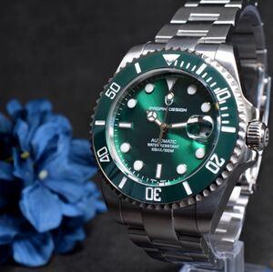 メンズ 腕時計 グリーンサブ 機械式 自動巻 緑サブ 男 時計 回転ベゼル ROLEX ロレックス サブマリーナ オマージュ