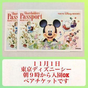 2枚セット 11月1日(月) 東京ディズニーシー 11/1 ワンデーパスポート ペアチケット 東京ディズニーランド