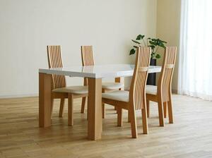 UV塗装テーブル140×90 DT531RW/RB+椅子CBL531RB/WH×4脚 大川製