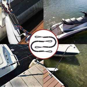 【係留、アンカー】バンジーライン(ブラック) 水上バイク バンジーコード バンジーロープ ジェットスキー ヨット マリンジェット 船外機 船