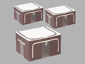 収納BOX●同色3個セット 便利 収納 衣類 整理 中身が見える 折り畳み式/ブラウン/幅50x奥行40x 高さ28cm/訳有/1円スタート/XB