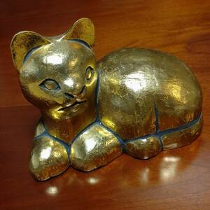 猫の置物 木製 金色 和風 猫 ねこ ネコ 幅約235㎜ 奥行約130㎜ 高さ約180㎜ 重量約580g