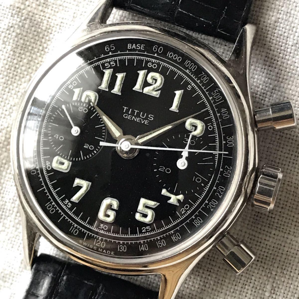 美品★50年代 タイタス バルジュー クロノグラフ アンティーク メンズ腕時計 手巻き 35㎜ ニッケル OH済 良好 TITUS Valjoux