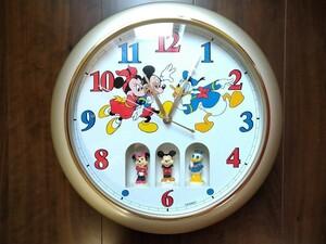 【断捨離中】ディズニーの掛時計 ミッキー ミニー ドナルドが回転します メロディー時計 未使用 動作確認済♪