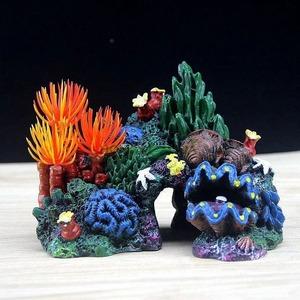 大人気♪カラフルなサンゴ礁のオブジェ☆水槽 アクアリウム 魚 鑑賞 置物 オーナメント 装飾品 珊瑚 ヒトデ 貝殻 水草 自然*6v8*