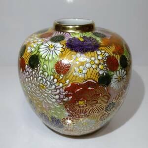 【 九谷焼 】 花瓶 置物 色絵本金彩 花詰 美品 未使用品