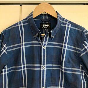 BEAMS チェックシャツ Mサイズ ネイビー