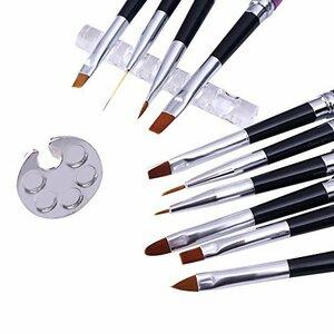 12個アソート BORN PRETTY ネイルアートブラシセット ネイル筆 ジェルネイルブラシ10本 透明ブラシホルダー、丸いリ