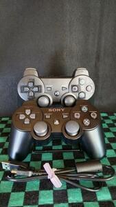 PS3コントローラー SONY 純正品 SIXAXISと互換コントローラー2台ともジャンクおまけUSBケーブル