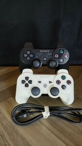 DUALSHOCK3ソニー純正品デュアルショック3ワイヤレスコントローラー、ブラックとホワイトおまけUSB充電ケーブル