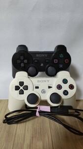 DUALSHOCK3 SONY 純正品 ワイヤレスコントローラーPS3 デュアルショック3 、ホワイトとブラックおまけケーブル