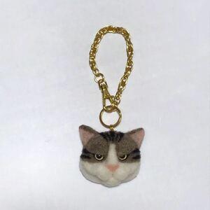 羊毛フェルト 猫バッグチャーム キジトラ白
