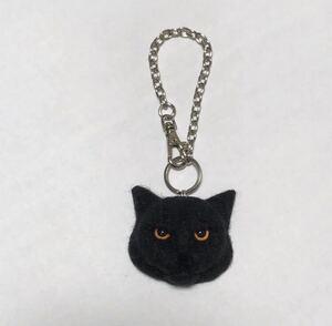 羊毛フェルト 猫バッグチャーム 黒猫