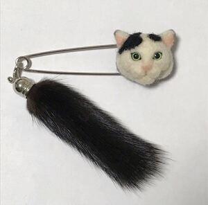 羊毛フェルト 猫ストールピン 黒ぶち